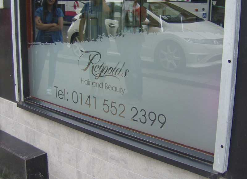 On both sides of the glass and has a long life span static cling a temporary vinyl used for short term promotions for inside or outside application